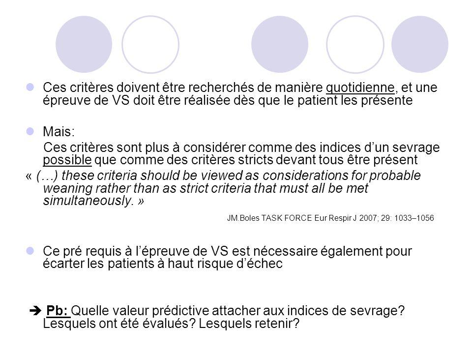 Les principales qualités nécessaires : -Bonne valeur prédictive positive et négative -Mesure facilement réalisable au lit du patient -Bonne reproductibilité +++ Dans les faits: f/Vt ou rapid shallow breathing index (RSBI)..