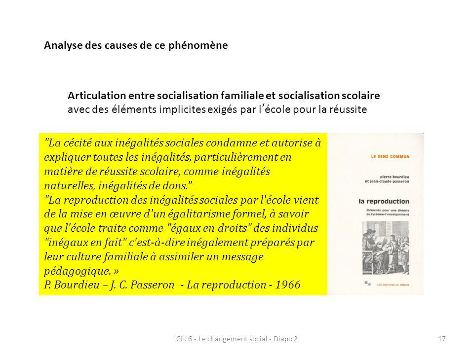 Ch. 6 - Le changement social - Diapo 217 Analyse des causes de ce phénomène Articulation entre socialisation familiale et socialisation scolaire avec