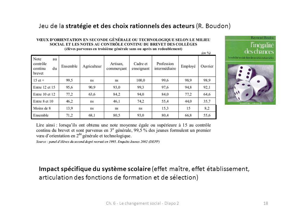 Impact spécifique du système scolaire (effet maître, effet établissement, articulation des fonctions de formation et de sélection) Jeu de la stratégie et des choix rationnels des acteurs (R.