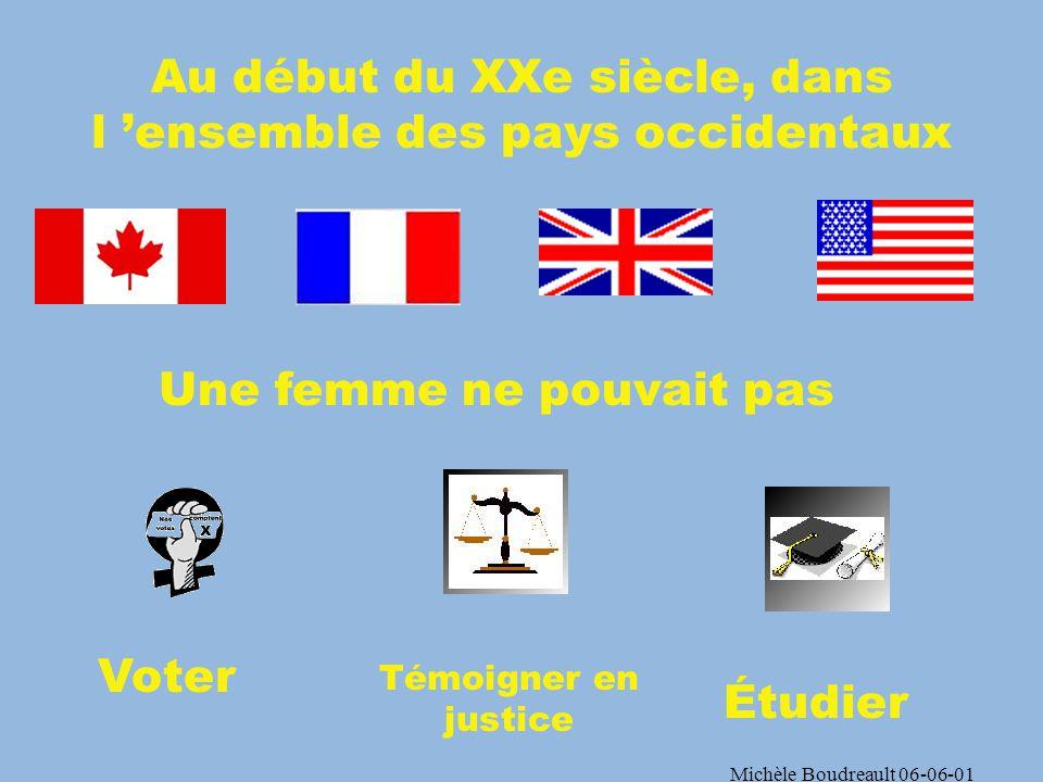 Michèle Boudreault 06-06-01 Selon le christianisme… « Comme lÉglise est soumise au Christ, les femmes sont soumises en toute chose à leurs maris ».