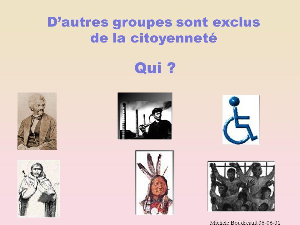 Michèle Boudreault 06-06-01 Au début du XXe siècle, dans l ensemble des pays occidentaux Une femme ne pouvait pas Voter Témoigner en justice Étudier