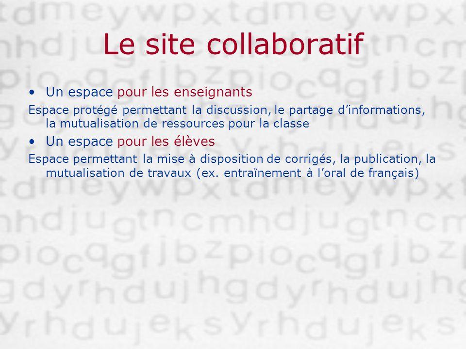 Le site collaboratif Un espace pour les enseignants Espace protégé permettant la discussion, le partage dinformations, la mutualisation de ressources
