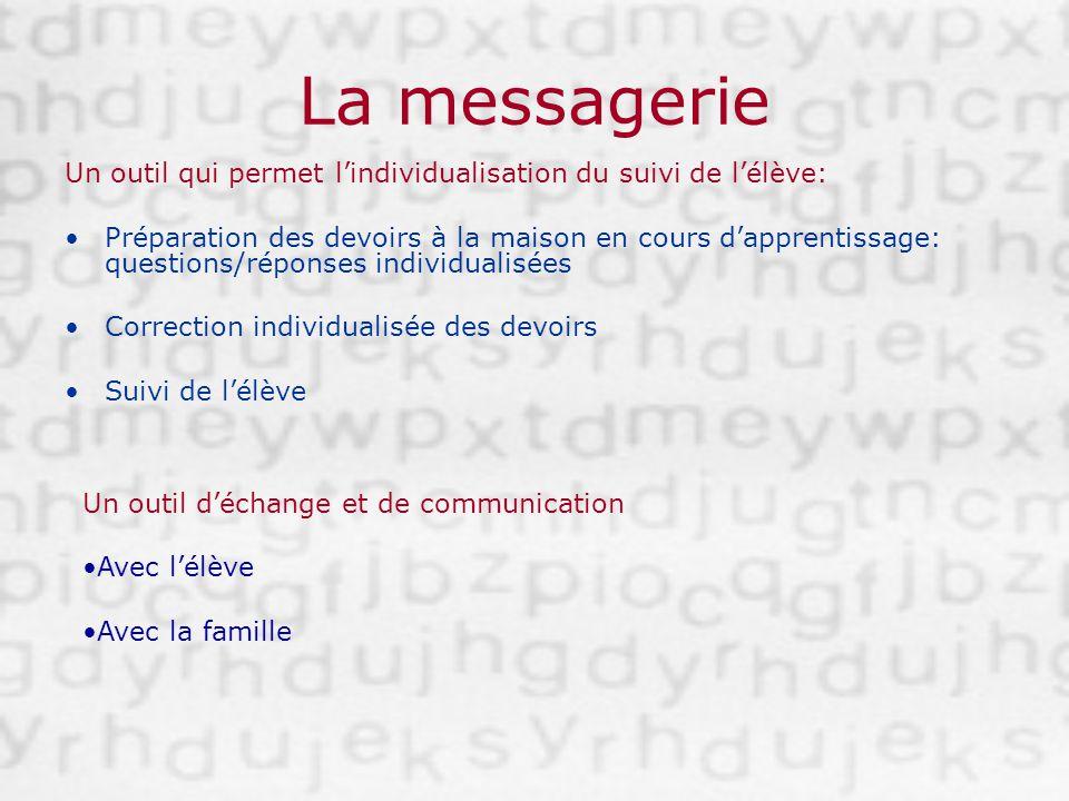 La messagerie Un outil qui permet lindividualisation du suivi de lélève: Préparation des devoirs à la maison en cours dapprentissage: questions/répons