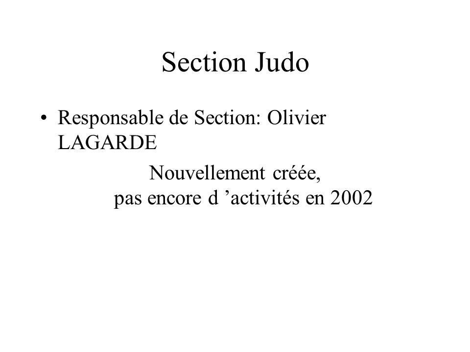 Section Judo Responsable de Section: Olivier LAGARDE Nouvellement créée, pas encore d activités en 2002