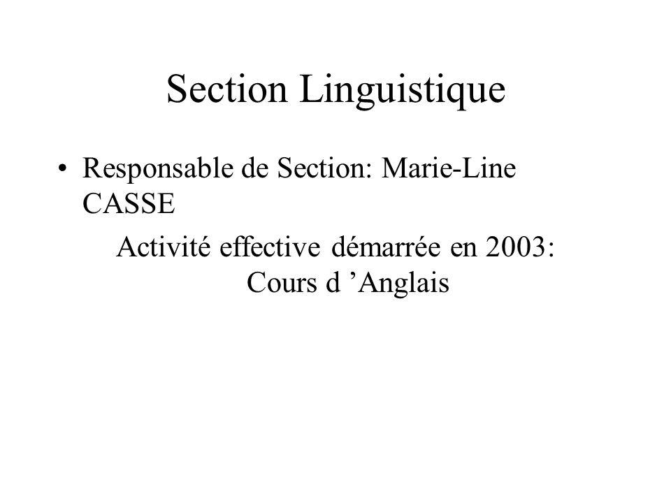 Section Linguistique Responsable de Section: Marie-Line CASSE Activité effective démarrée en 2003: Cours d Anglais