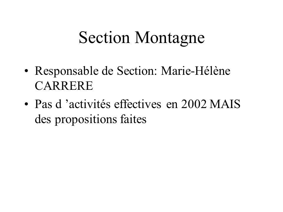 Section Montagne Responsable de Section: Marie-Hélène CARRERE Pas d activités effectives en 2002 MAIS des propositions faites