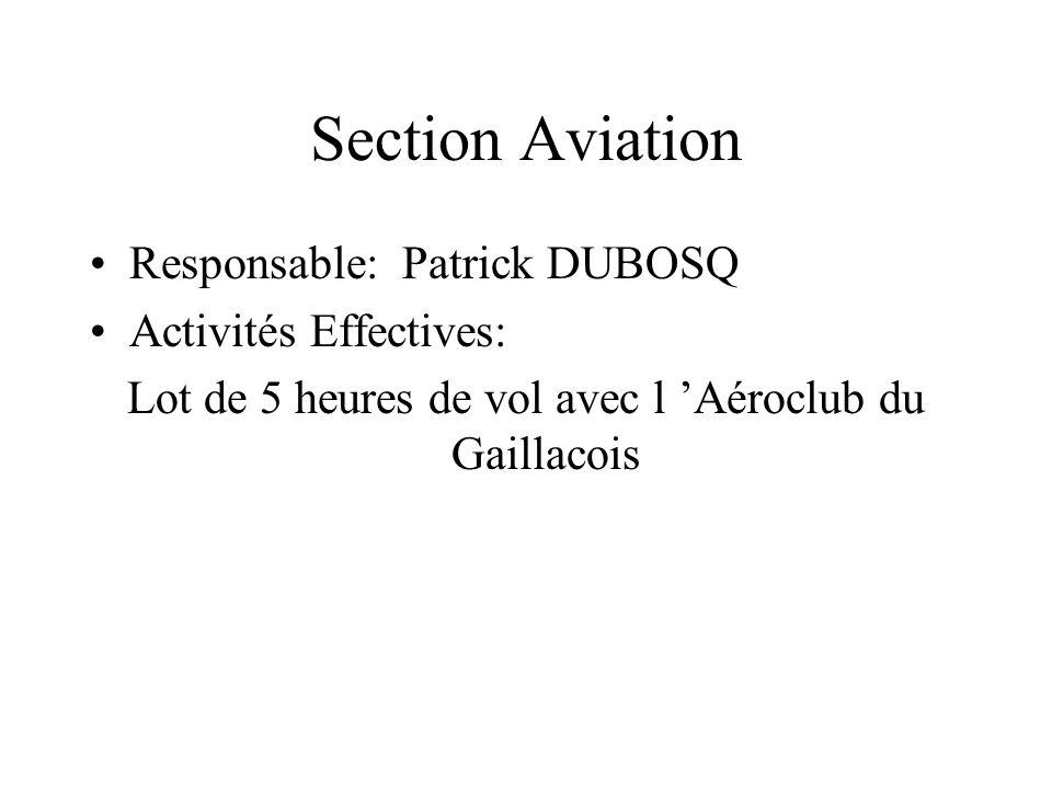 Section Aviation Responsable: Patrick DUBOSQ Activités Effectives: Lot de 5 heures de vol avec l Aéroclub du Gaillacois