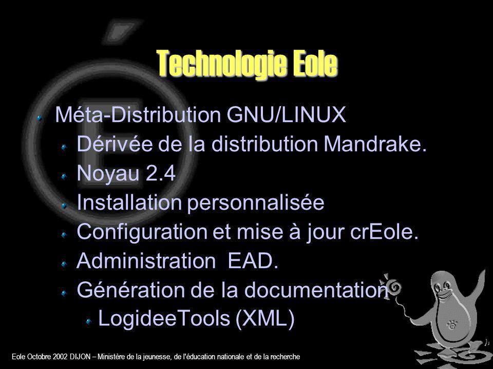 Eole Octobre 2002 DIJON – Ministère de la jeunesse, de l éducation nationale et de la recherche Technologie Eole Méta-Distribution GNU/LINUX Dérivée de la distribution Mandrake.