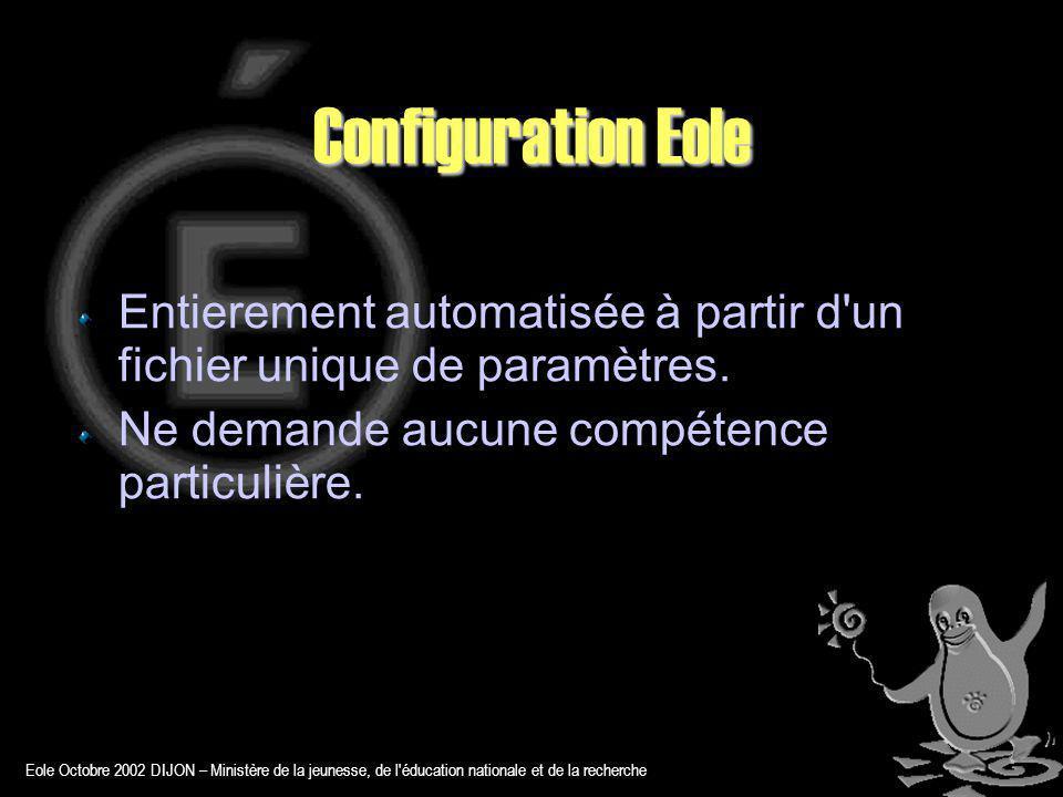 Eole Octobre 2002 DIJON – Ministère de la jeunesse, de l éducation nationale et de la recherche Configuration Eole Entierement automatisée à partir d un fichier unique de paramètres.