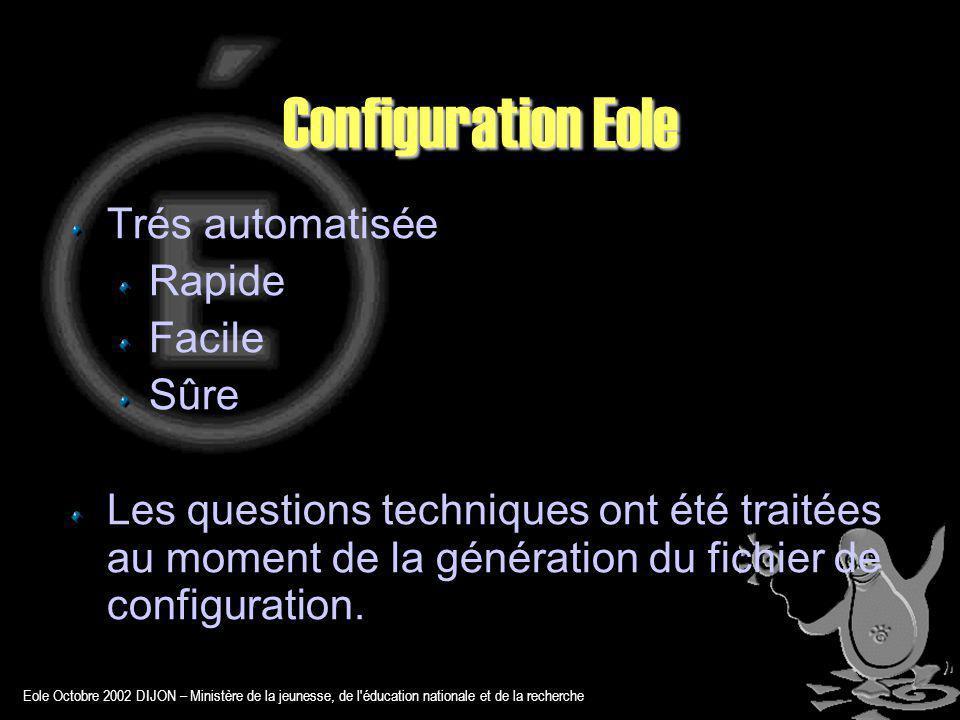 Eole Octobre 2002 DIJON – Ministère de la jeunesse, de l éducation nationale et de la recherche Configuration Eole Trés automatisée Rapide Facile Sûre Les questions techniques ont été traitées au moment de la génération du fichier de configuration.