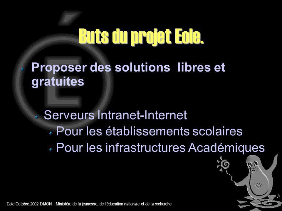 Eole Octobre 2002 DIJON – Ministère de la jeunesse, de l éducation nationale et de la recherche Buts du projet Eole.