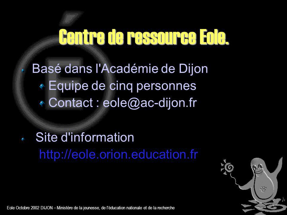 Eole Octobre 2002 DIJON – Ministère de la jeunesse, de l éducation nationale et de la recherche Amon et les zones de sécurité AMON 1.0 Gére trois zones Les règles sont prédéfinies pour un établissement scolaire AMON 1.5 Gère de deux à quatres zones Outils de génération XML de règles Adaptable à toute architecture