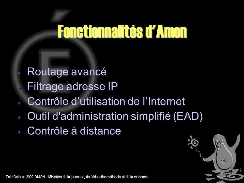 Eole Octobre 2002 DIJON – Ministère de la jeunesse, de l éducation nationale et de la recherche Fonctionnalités d Amon Routage avancé Filtrage adresse IP Contrôle dutilisation de lInternet Outil d administration simplifié (EAD) Contrôle à distance