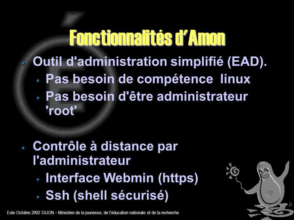 Eole Octobre 2002 DIJON – Ministère de la jeunesse, de l éducation nationale et de la recherche Fonctionnalités d Amon Outil d administration simplifié (EAD).