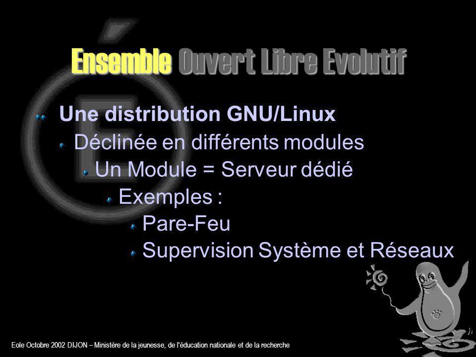 Eole Octobre 2002 DIJON – Ministère de la jeunesse, de l éducation nationale et de la recherche Ensemble Ouvert Libre Evolutif Une distribution GNU/Linux Déclinée en différents modules Un Module = Serveur dédié Exemples : Pare-Feu Supervision Système et Réseaux