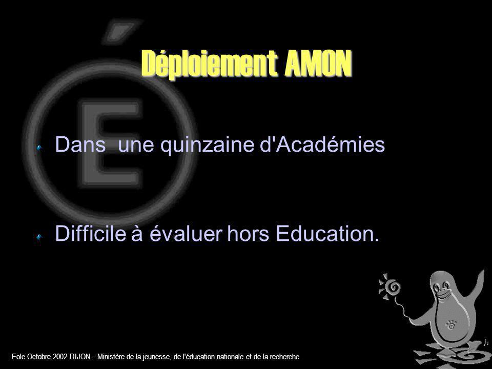 Déploiement AMON Dans une quinzaine d Académies Difficile à évaluer hors Education.