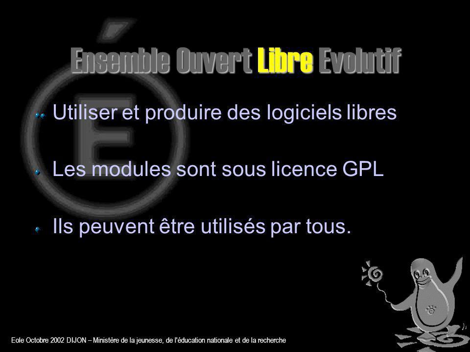 Eole Octobre 2002 DIJON – Ministère de la jeunesse, de l éducation nationale et de la recherche Ensemble Ouvert Libre Evolutif S adapte aux besoins Conception modulaire Orientation Solution Suit les évolutions technologiques Version Noyau Linux Mises à jour de sécurité
