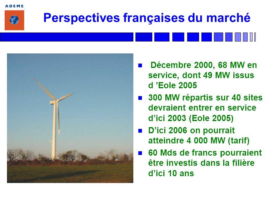 Perspectives françaises du marché n Décembre 2000, 68 MW en service, dont 49 MW issus d Eole 2005 n 300 MW répartis sur 40 sites devraient entrer en service dici 2003 (Eole 2005) n Dici 2006 on pourrait atteindre 4 000 MW (tarif) n 60 Mds de francs pourraient être investis dans la filière dici 10 ans