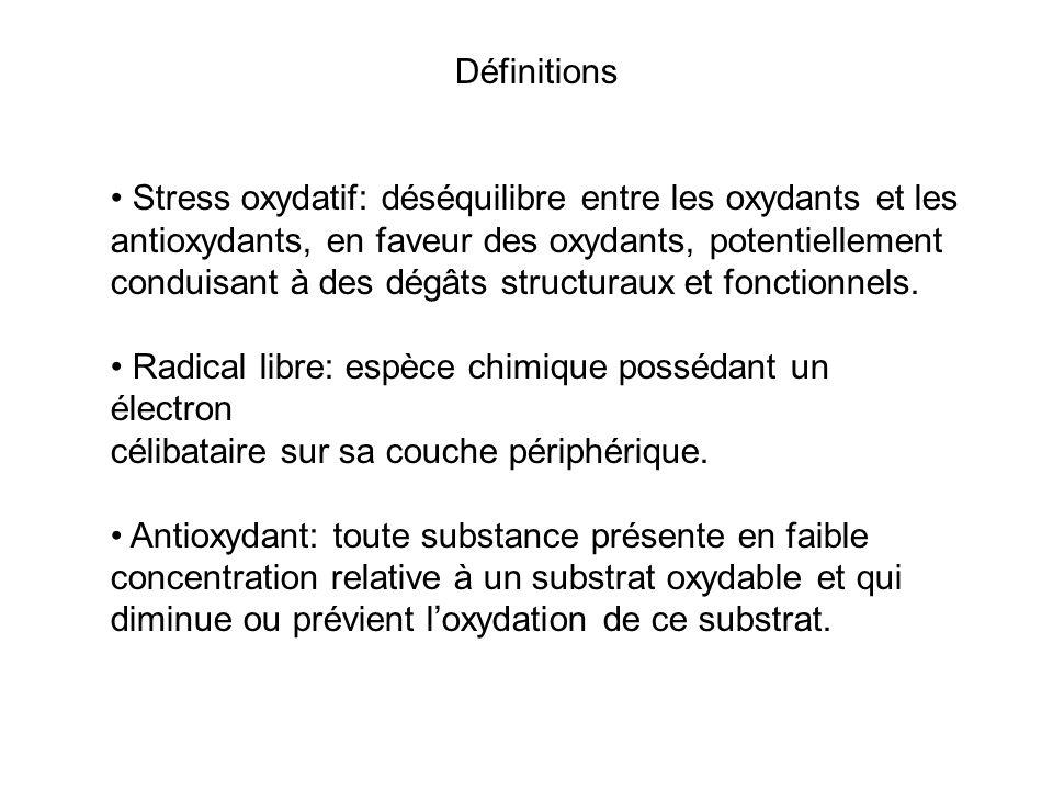 Définitions Stress oxydatif: déséquilibre entre les oxydants et les antioxydants, en faveur des oxydants, potentiellement conduisant à des dégâts structuraux et fonctionnels.