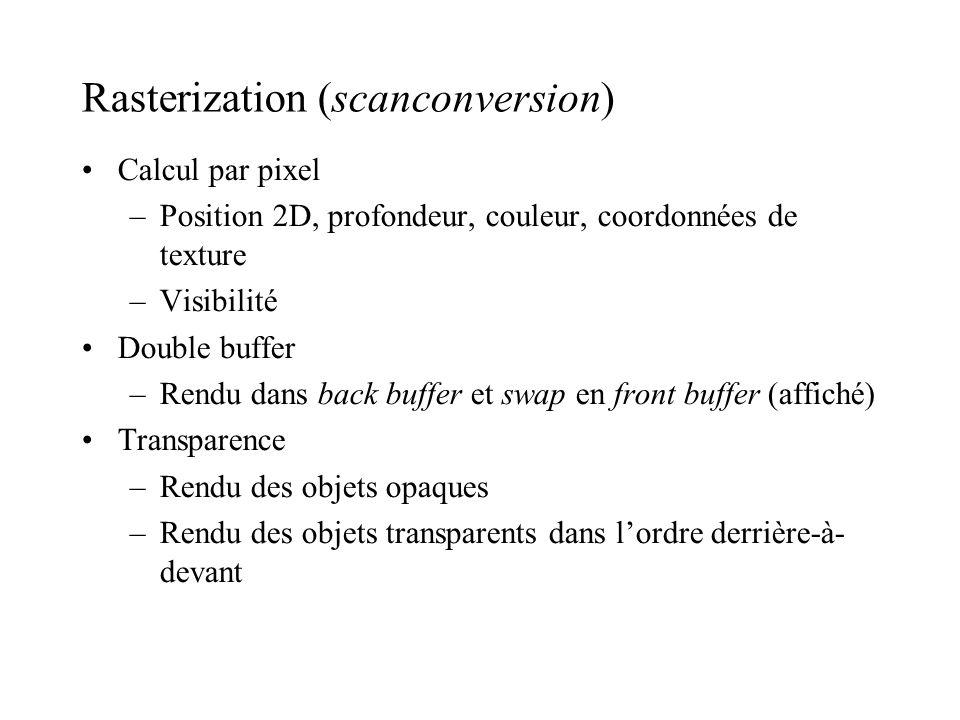 Rasterization (scanconversion) Calcul par pixel –Position 2D, profondeur, couleur, coordonnées de texture –Visibilité Double buffer –Rendu dans back b