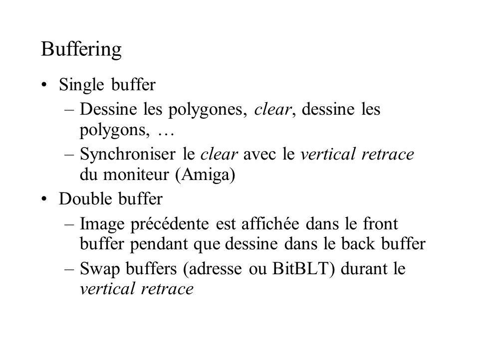Buffering Single buffer –Dessine les polygones, clear, dessine les polygons, … –Synchroniser le clear avec le vertical retrace du moniteur (Amiga) Dou