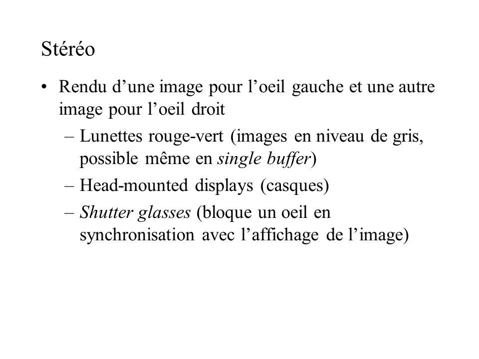 Stéréo Rendu dune image pour loeil gauche et une autre image pour loeil droit –Lunettes rouge-vert (images en niveau de gris, possible même en single