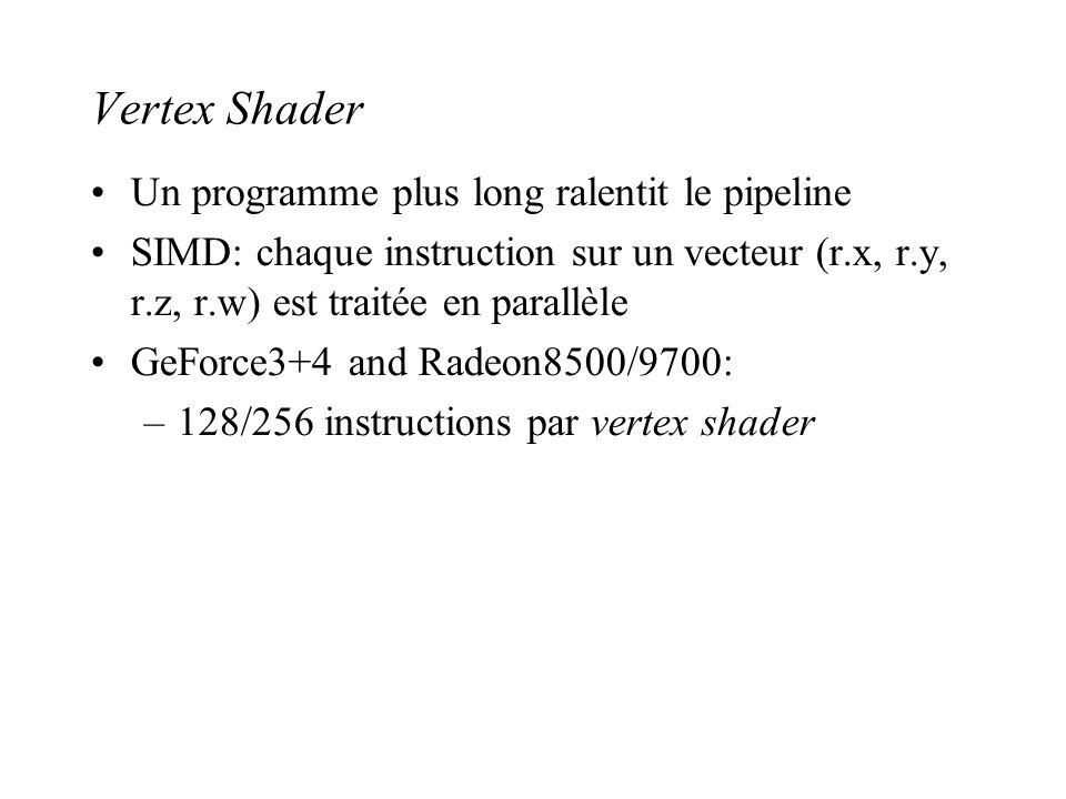 Vertex Shader Un programme plus long ralentit le pipeline SIMD: chaque instruction sur un vecteur (r.x, r.y, r.z, r.w) est traitée en parallèle GeForc