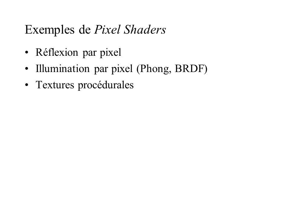 Exemples de Pixel Shaders Réflexion par pixel Illumination par pixel (Phong, BRDF) Textures procédurales
