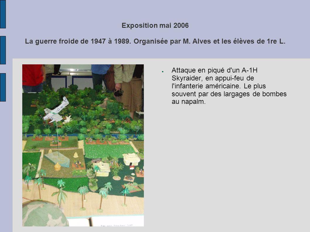 Exposition mai 2006 La guerre froide de 1947 à 1989. Organisée par M. Alves et les élèves de 1re L. Attaque en piqué d'un A-1H Skyraider, en appui-feu