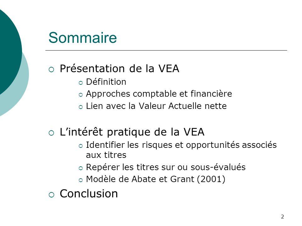 2 Sommaire Présentation de la VEA Définition Approches comptable et financière Lien avec la Valeur Actuelle nette Lintérêt pratique de la VEA Identifi