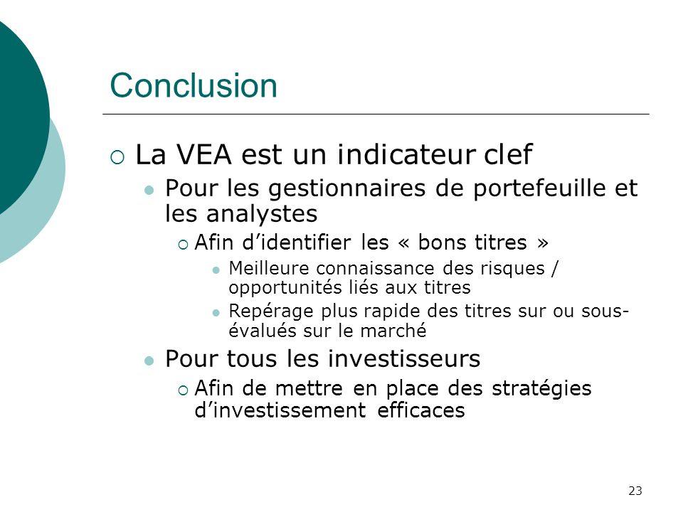 23 Conclusion La VEA est un indicateur clef Pour les gestionnaires de portefeuille et les analystes Afin didentifier les « bons titres » Meilleure con