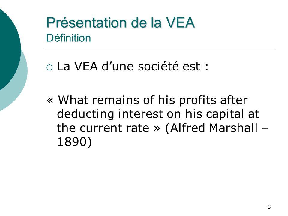 4 Présentation de la VEA Présentation de la VEA Approche comptable VEA = BENAI – CMPC x C Or : BENAI = BEAII (1 – T) CMPC = W e x R e + W d x R d C = Montant total de capital investi (dette et fonds propres) Doù : VEA = (RCI – CMPC) x C
