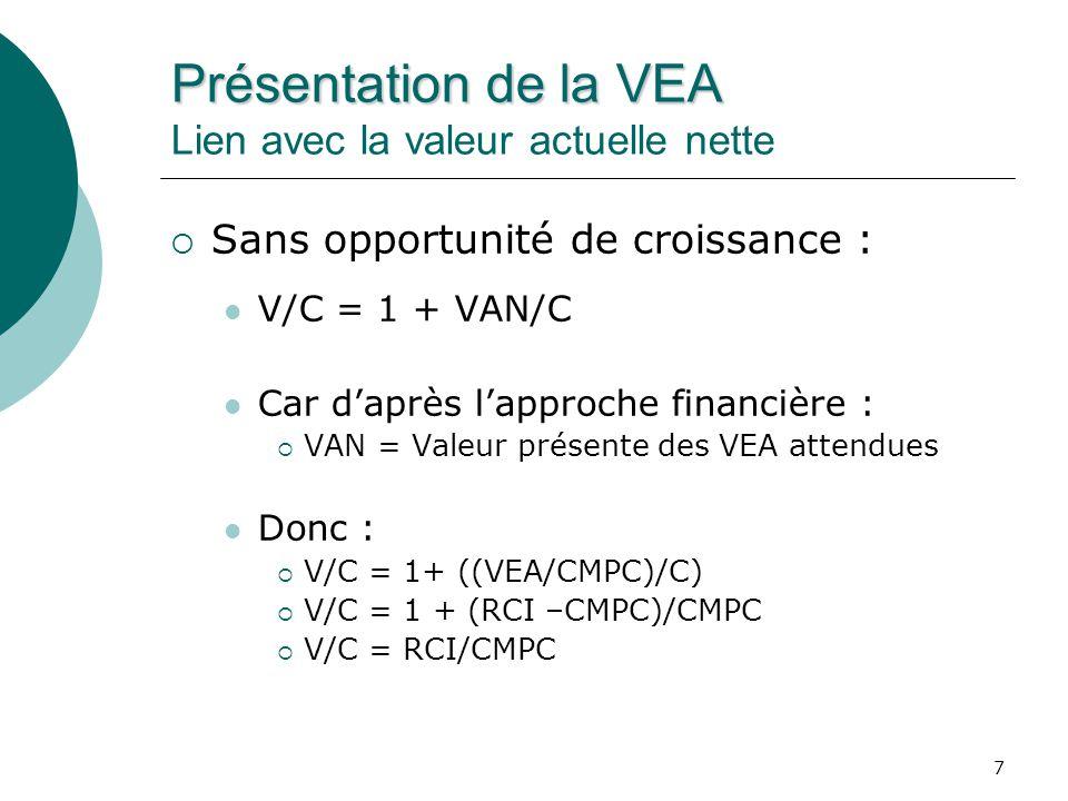 8 Présentation de la VEA Présentation de la VEA Lien avec la valeur actuelle nette Avec opportunité de croissance : V/C = 1 + VAN/C Car : V = C + VAN V = C + (VEA/CMPC + Gf) V = (VEA + CMPC x C)/CMPC + Gf V = BENAI/CMPC + Gf