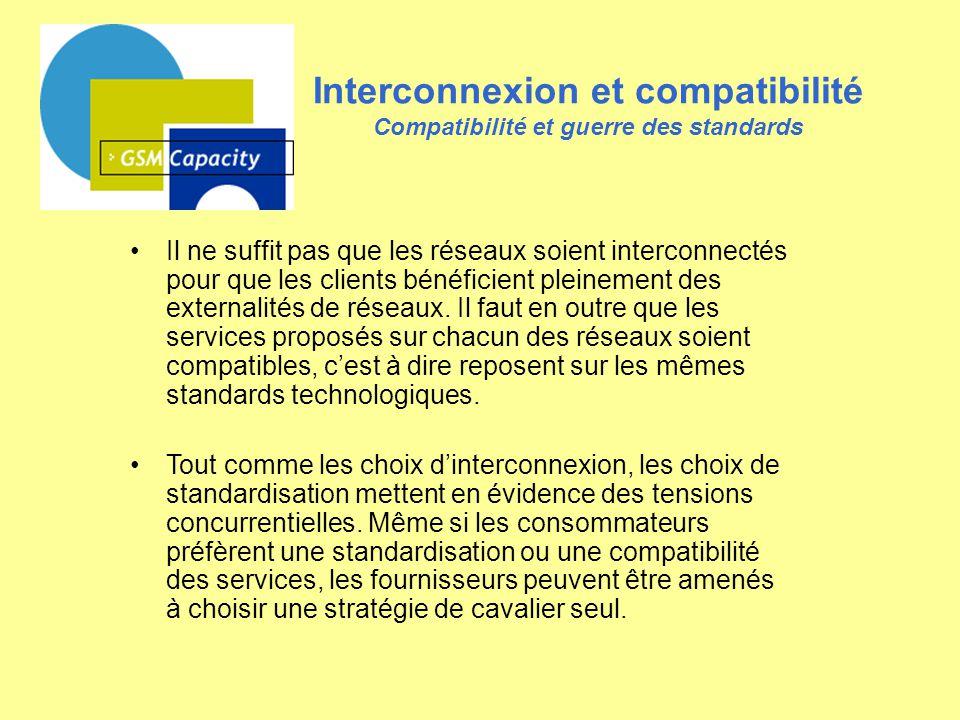 Interconnexion et compatibilité Compatibilité et guerre des standards Il ne suffit pas que les réseaux soient interconnectés pour que les clients béné