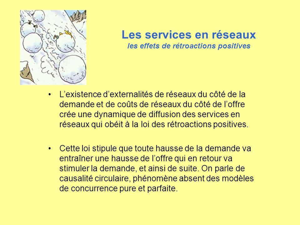 Les services en réseaux les effets de rétroactions positives Si un service commence à être adopté par plusieurs consommateurs, il permet aux fournisseurs de ce service de réaliser des économies déchelle et ainsi dabaisser les prix de vente.