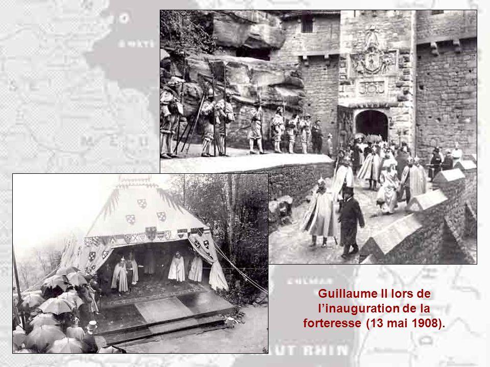 Le 13 mai1908 est inaugurée la forteresse du Haut-Koenigsbourg… Les ruines du château, détruit par les Suédois en 1633, sont acquises en 1865 par la v
