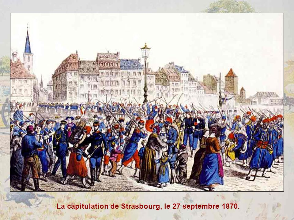 Le Prussien, reconnaissable à son casque à pointe… barbouille lAlsace et la Lorraine de « bleu de Prusse »… Dessin satirique de Caran dAche paru dans « LÉclipse », 1871.