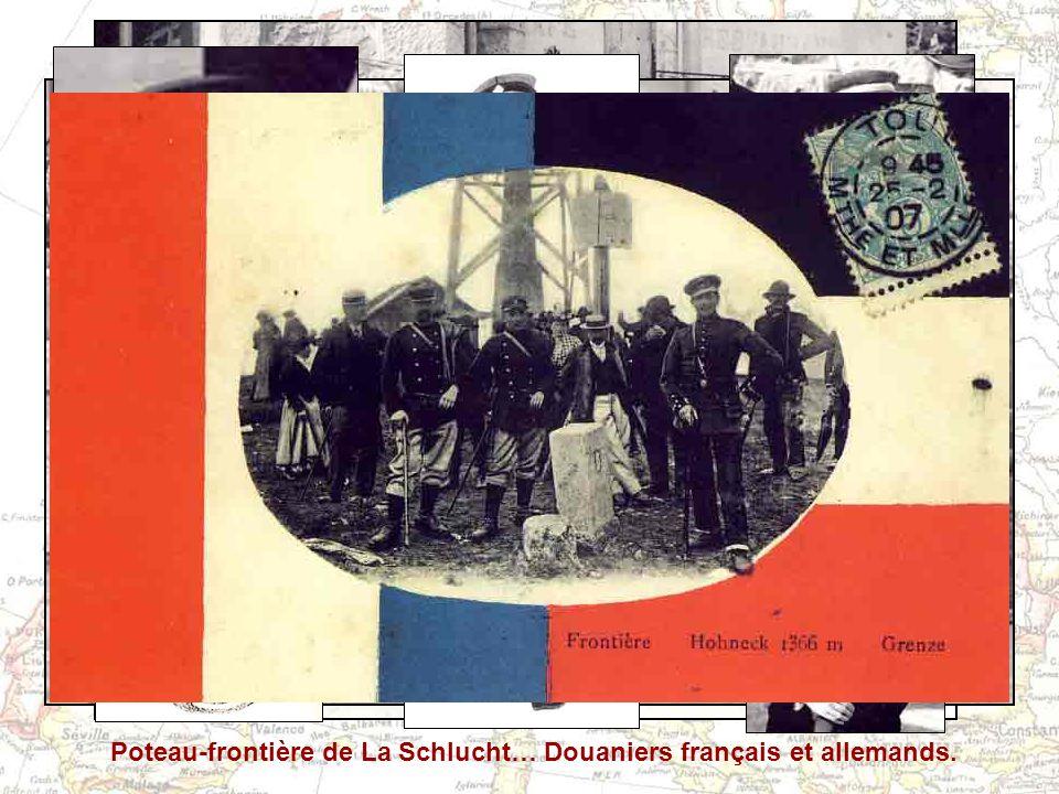 Poteau-frontière de La Schlucht… Douaniers français et allemands.