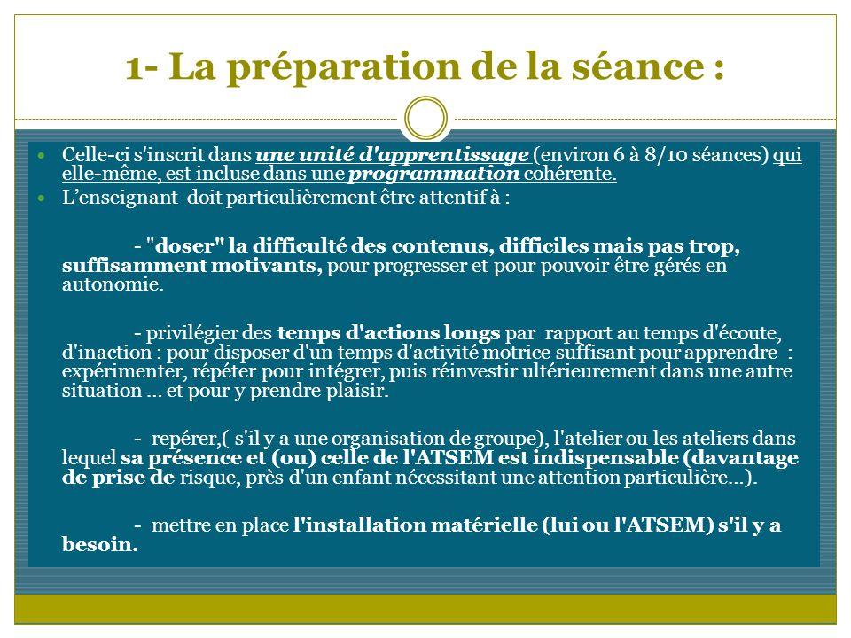 1- La préparation de la séance : Celle-ci s'inscrit dans une unité d'apprentissage (environ 6 à 8/10 séances) qui elle-même, est incluse dans une prog