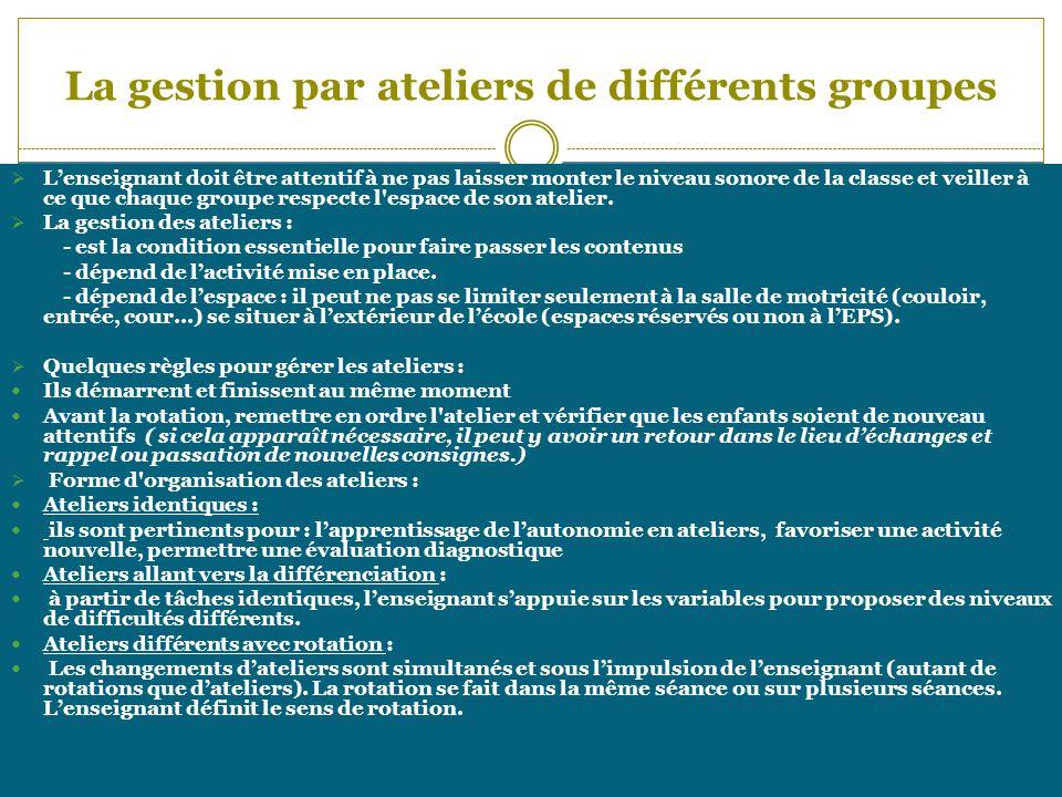 La gestion par ateliers de différents groupes Lenseignant doit être attentif à ne pas laisser monter le niveau sonore de la classe et veiller à ce que