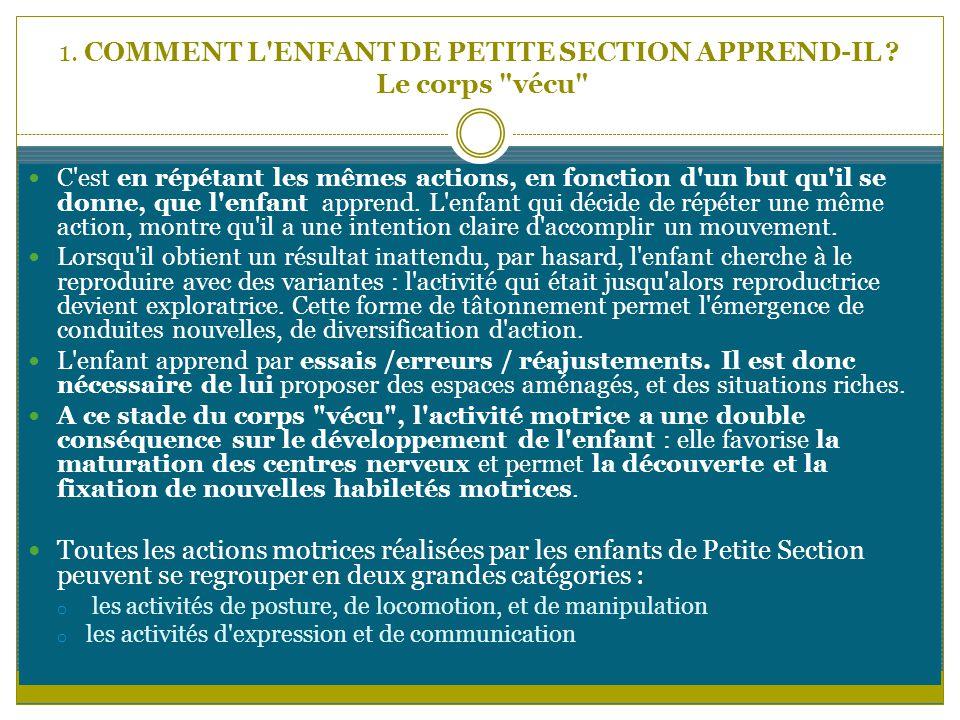 1. COMMENT L'ENFANT DE PETITE SECTION APPREND-IL ? Le corps