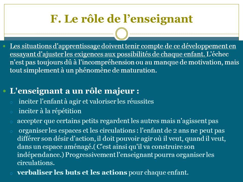 F. Le rôle de lenseignant Les situations d'apprentissage doivent tenir compte de ce développement en essayant d'ajuster les exigences aux possibilités