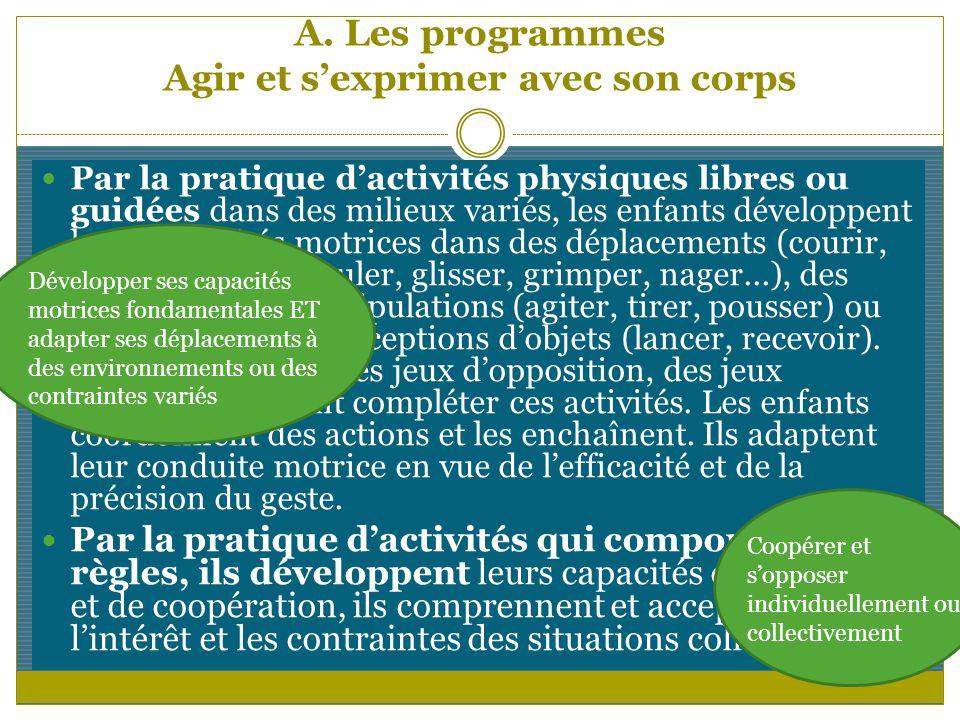 A. Les programmes Agir et sexprimer avec son corps Par la pratique dactivités physiques libres ou guidées dans des milieux variés, les enfants dévelop