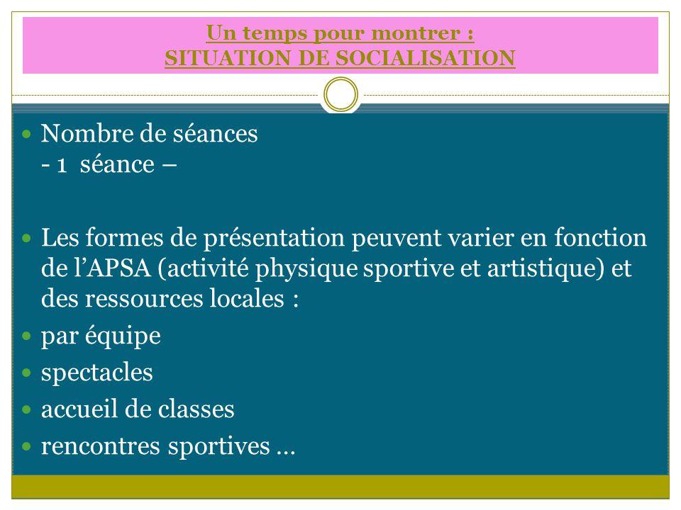 Nombre de séances - 1 séance – Les formes de présentation peuvent varier en fonction de lAPSA (activité physique sportive et artistique) et des ressou