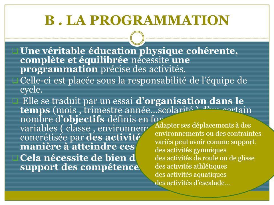 B. LA PROGRAMMATION Une véritable éducation physique cohérente, complète et équilibrée nécessite une programmation précise des activités. Celle-ci est
