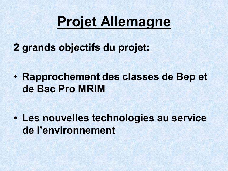 Projet Allemagne 2 grands objectifs du projet: Rapprochement des classes de Bep et de Bac Pro MRIM Les nouvelles technologies au service de lenvironne