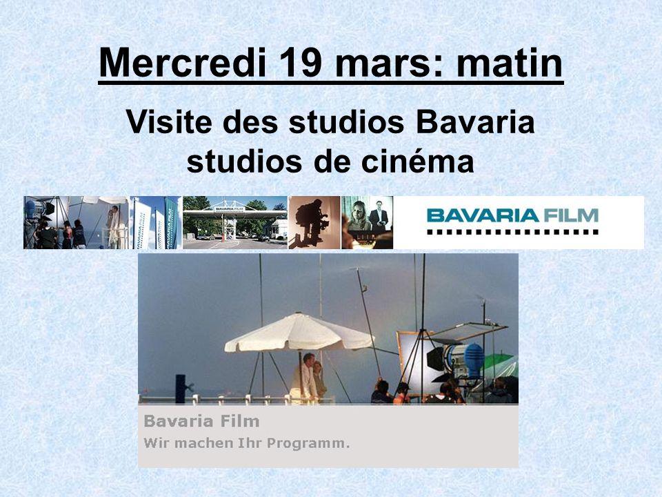 Mercredi 19 mars: matin Visite des studios Bavaria studios de cinéma
