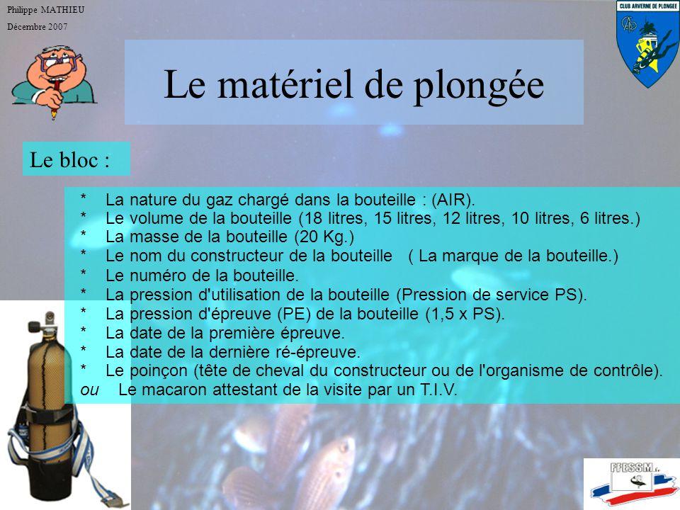 Le matériel de plongée Philippe MATHIEU Décembre 2007 Le bloc :
