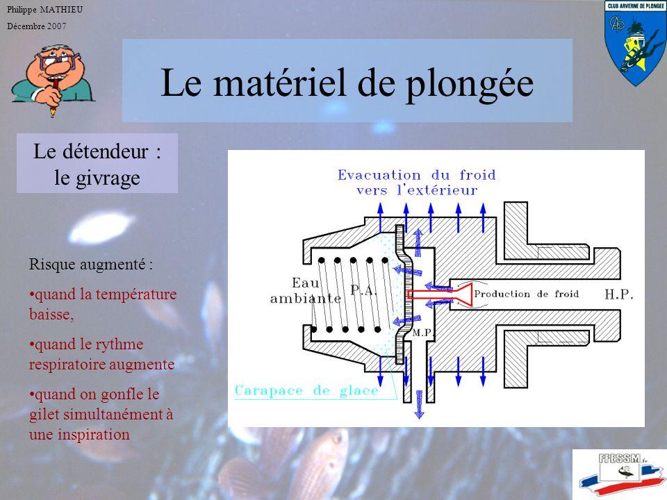 Le matériel de plongée Philippe MATHIEU Décembre 2007 Le détendeur : 2 ème étage chargé de transformer lair à moyenne pression en air à pression ambia