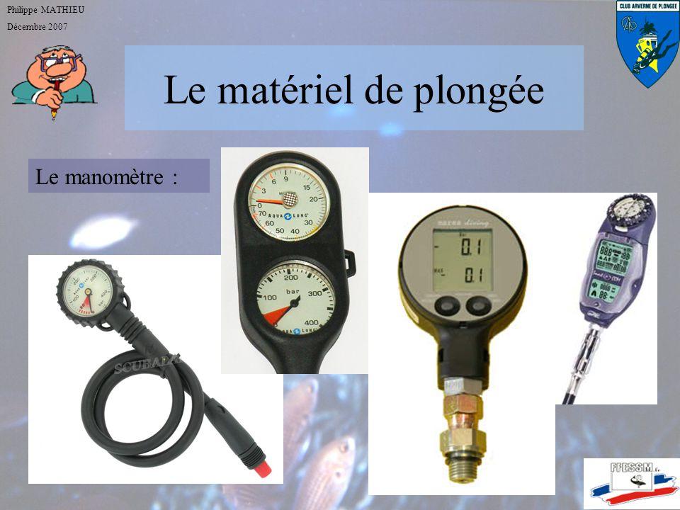Le matériel de plongée Philippe MATHIEU Décembre 2007 Le détendeur : le givrage Risque augmenté : quand la température baisse, quand le rythme respira